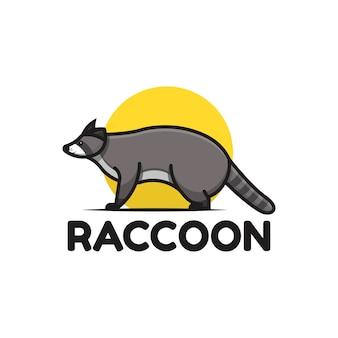 Шаблон логотипа милый енот