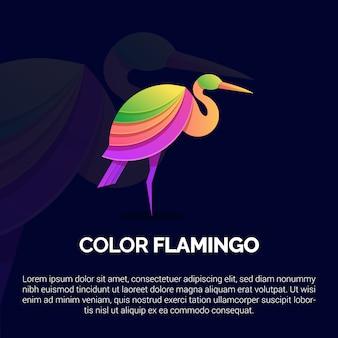 Красочный шаблон логотипа фламинго