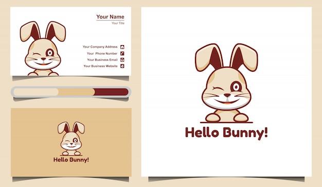 Симпатичный кролик логотип и шаблон дизайна визитной карточки