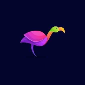 Шаблон логотипа красочный аист
