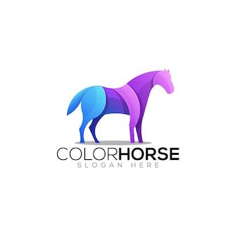 Шаблон логотипа красочный конь