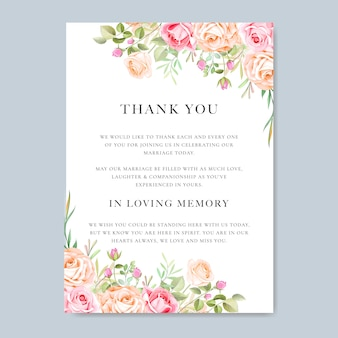 カラフルな花柄と葉の結婚式の招待カード