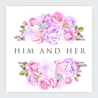 花のフレーム結婚式招待状のテンプレート