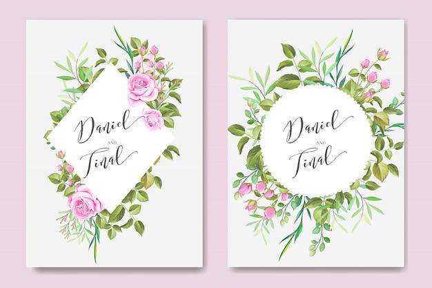 Красивая свадебная и пригласительная открытка с рамкой из цветов и листьев
