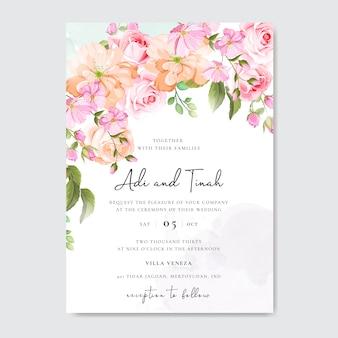 花と葉のフレームの美しい結婚式や招待状カード