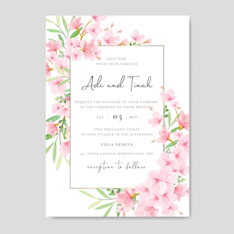 花の桜のデザインと結婚式の招待カードテンプレート