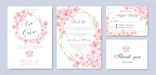 結婚式の花桜フレームテンプレート