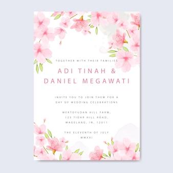 花桜のフレームを持つ結婚式の招待カードテンプレート
