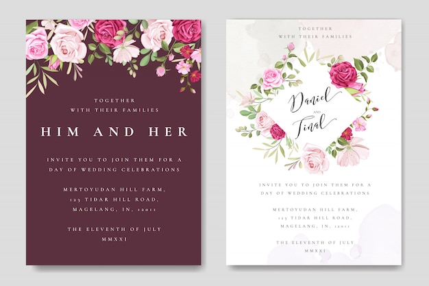 カラフルなあずき色のバラの美しい結婚式のカードテンプレート