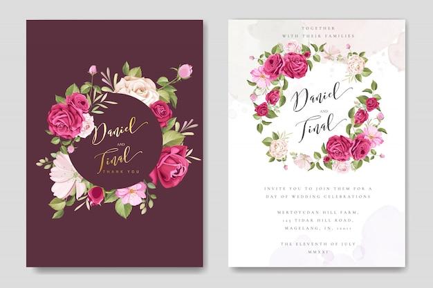 花と葉のテンプレートとエレガントなウェディングカード