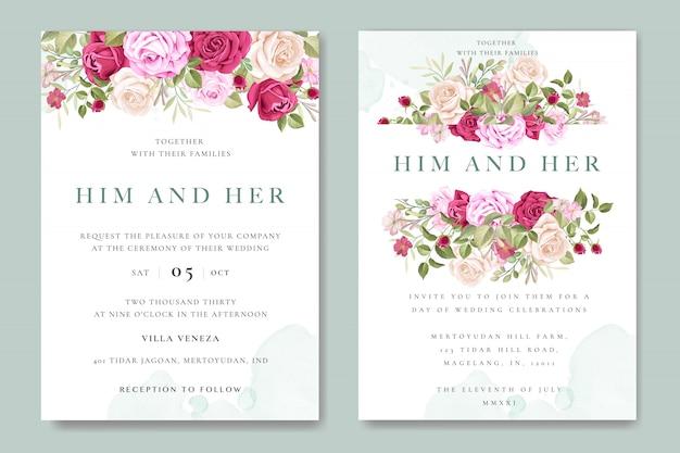 カラフルなバラのテンプレートと美しい結婚式の招待カード