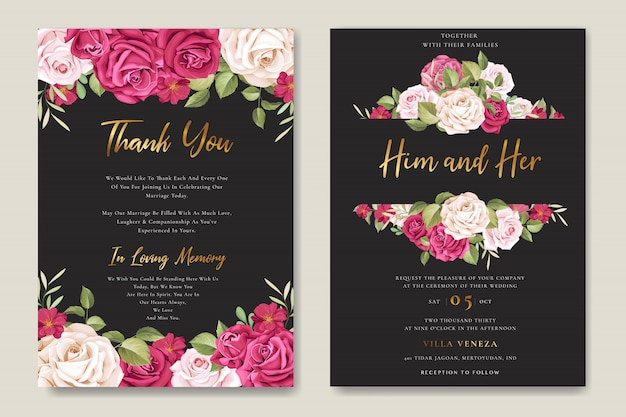 花と葉の花輪を持つ美しい結婚式の招待カード