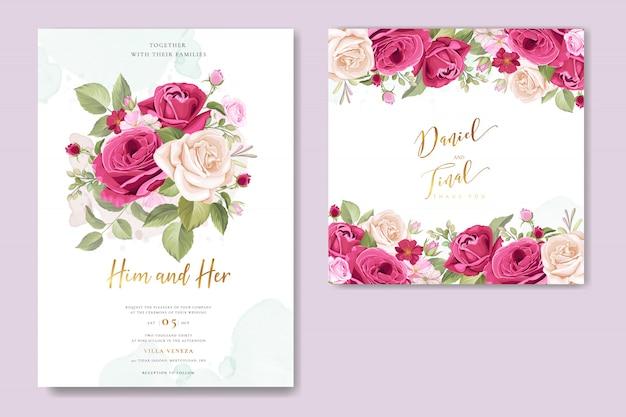 美しいバラの結婚式の招待カード