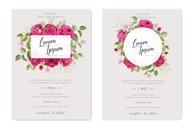 美しい結婚式のカード花のフレームテンプレート