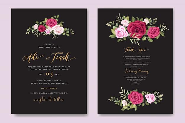 花のフレームテンプレートと美しい結婚式の招待カード