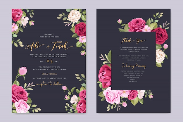 美しいバラの花輪を持つエレガントな結婚式のカードテンプレート