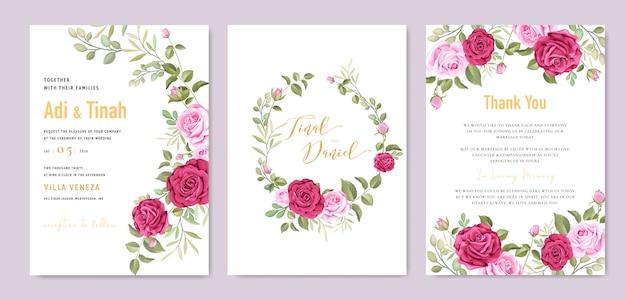 Элегантный шаблон свадебной открытки с красивым венком из роз