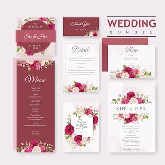 美しい花と葉のフレームを持つ結婚式カードテンプレート