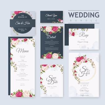 Шаблон свадебной открытки с красивой рамкой из цветов и листьев