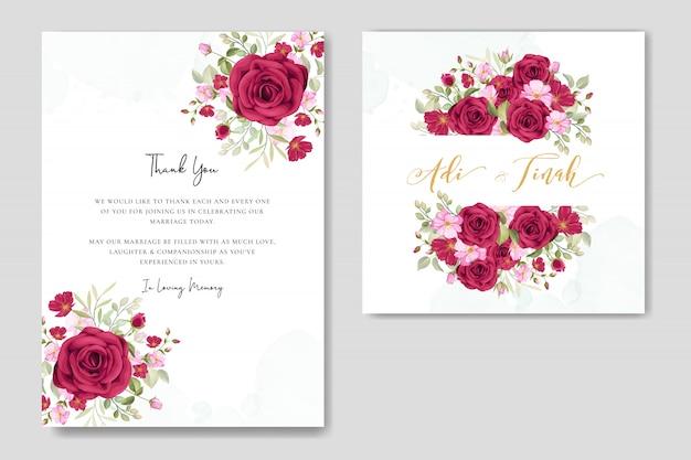 Свадебный набор шаблонов с красивым цветочным фоном и листьями