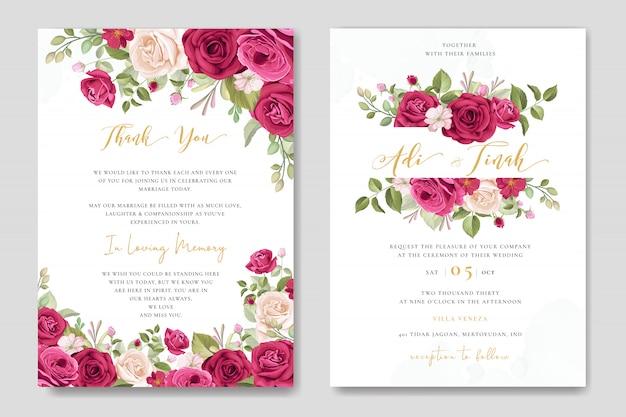 結婚式のカードは、美しい花と葉の背景を持つテンプレートを設定