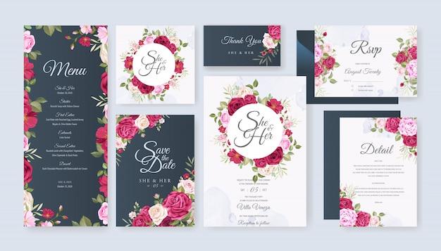 結婚式のカードは、美しい花と葉を持つテンプレートを設定