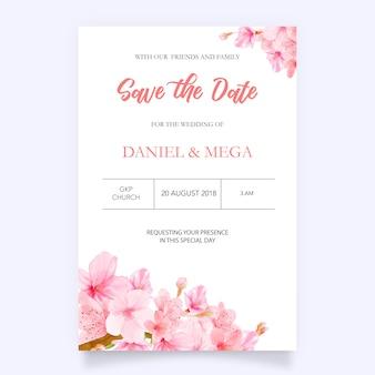 手描きの花と桜の背景カード