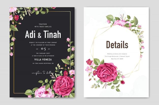 Красивая свадебная открытка с цветочным фоном и листьями