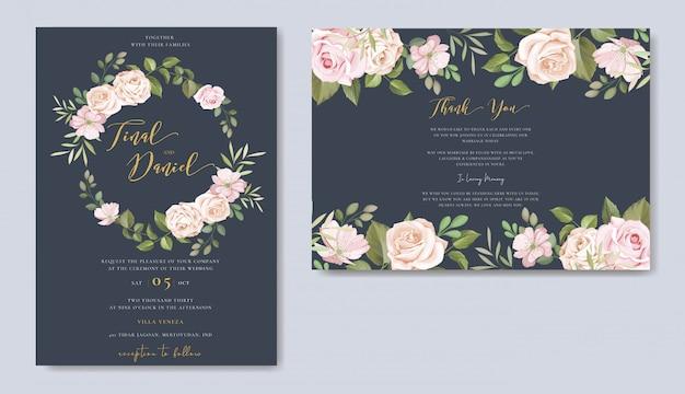 花柄のデザインで設定された美しい結婚式の招待カードテンプレート