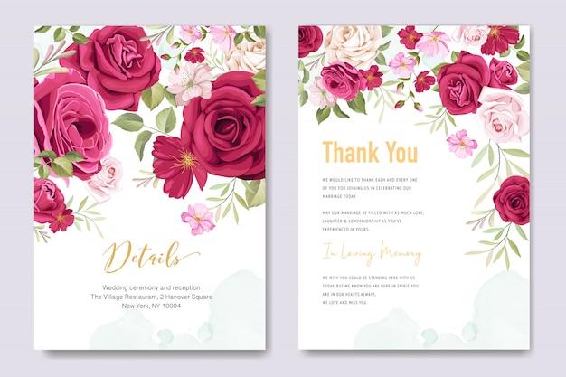 花の要素を持つ結婚式の招待カード