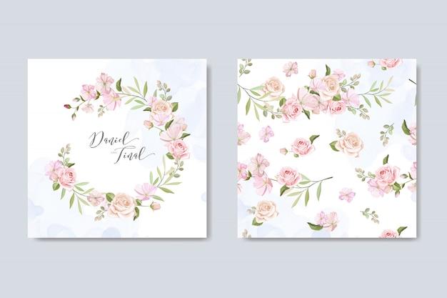 美しい花と葉を持つ結婚式の招待カード