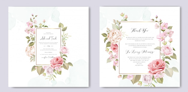 美しい花と葉入り結婚式招待状