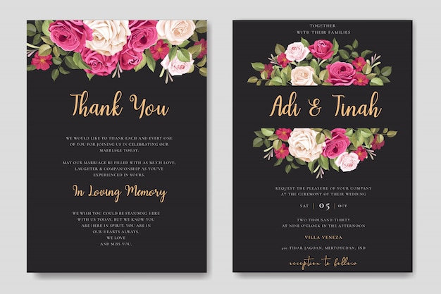 美しいバラの花輪テンプレートとエレガントなウェディングカードのデザイン