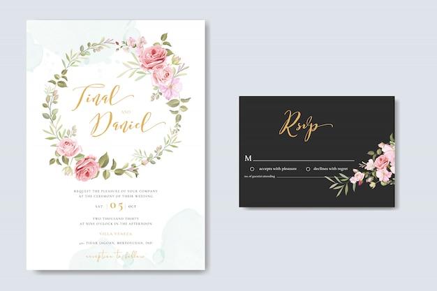 バラフレームテンプレートと美しい花のウェディングカード