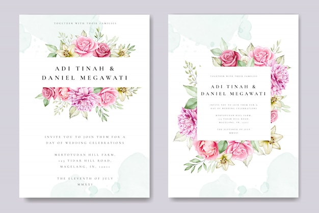 美しい花と葉のテンプレートと水彩の結婚式の招待カード