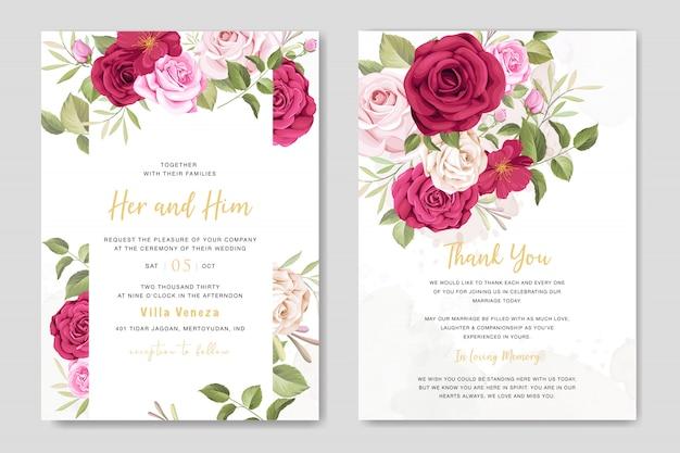 Красивая свадебная пригласительная открытка с цветочным и листьями шаблон