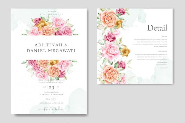 水彩のウェディングカードは、美しい花と葉を持つテンプレートを設定