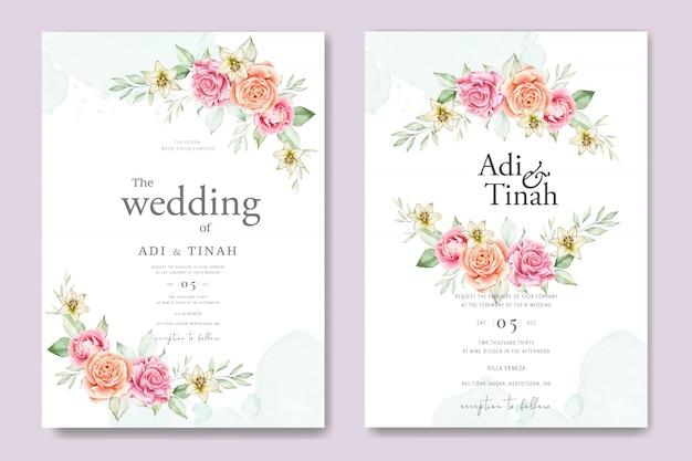 Акварель свадебная открытка набор шаблонов с красивыми цветами и листьями