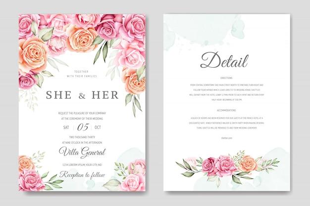 水彩結婚式招待状カードのテンプレート