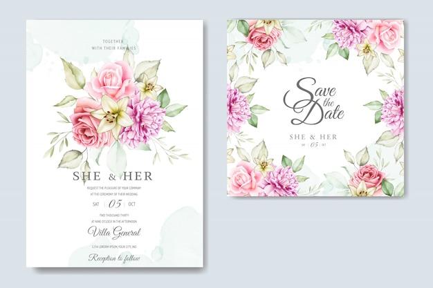 Шаблон карты акварель свадебные приглашения