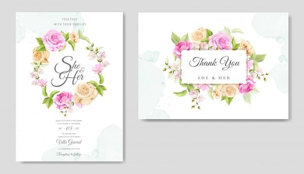 美しい黄色とピンクのバラのテンプレートと招待状