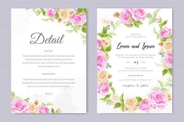 黄色とピンクのバラのテンプレートと結婚式の招待カード