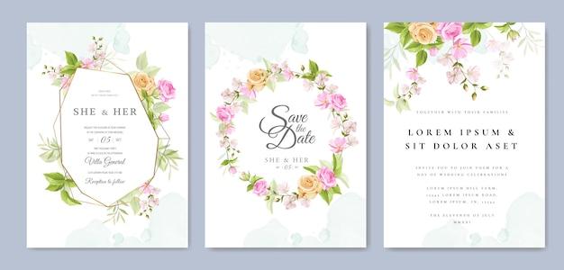 Свадебное приглашение с красивым цветочным узором и листьями