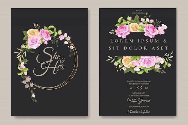 カラフルな花と葉のテンプレートと美しい招待状