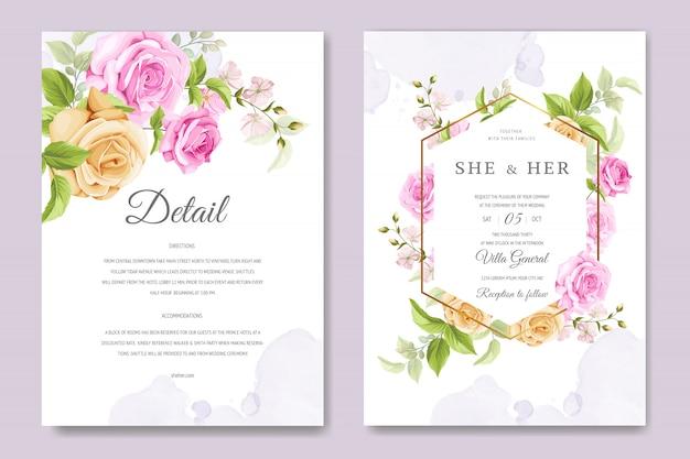 Красивая пригласительная открытка с красочными цветочными и листьями шаблон