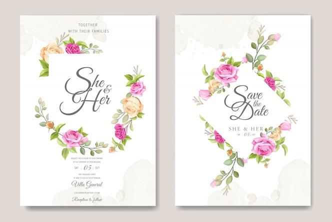 美しいバラのテンプレートとの結婚式の招待カード