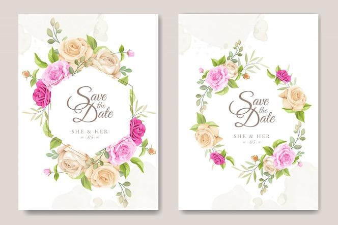 Свадебные приглашения с красивыми розами шаблон