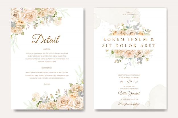 白と黄色のバラの美しい結婚式の招待カードテンプレート
