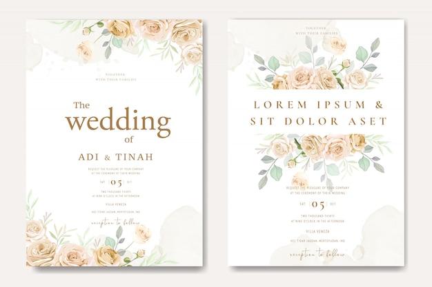Красивый шаблон свадебного приглашения с белыми и желтыми розами