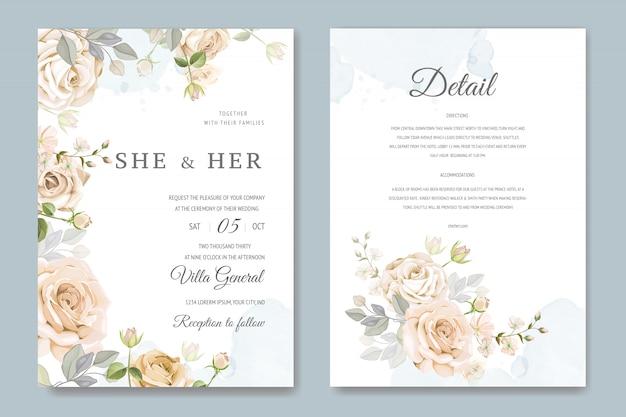 花のテンプレートと結婚式の招待カード